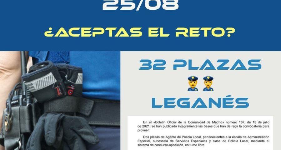 Policía de Leganés (32 plazas) – finalizada la presentación de instancias