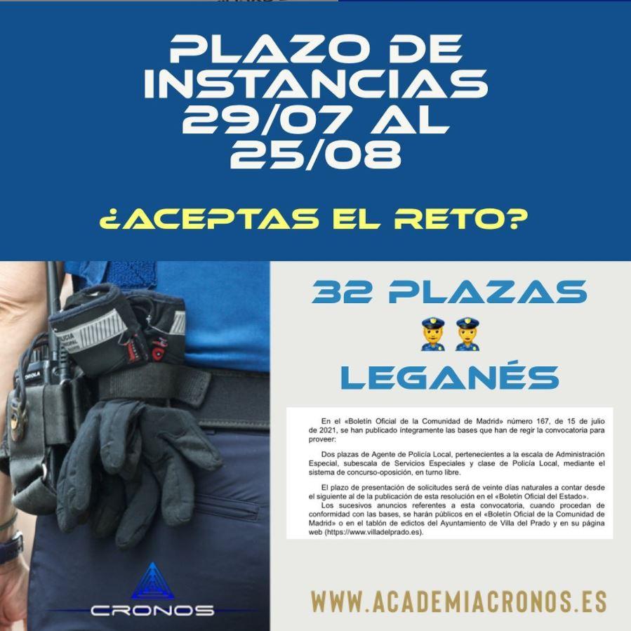 Plazo de instancias de policía local de Leganés 32 plazas