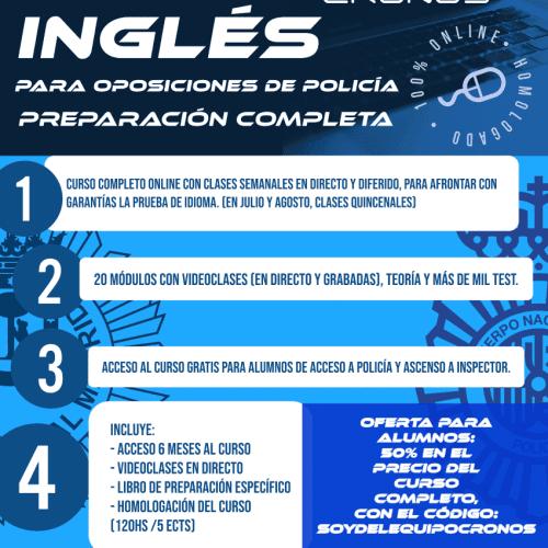"""Curso completo de """"Inglés para oposiciones a FCS"""" (CLASES EN DIRECTO Y ONLINE, LIBRO, HOMOLOGACIÓN y 6 MESES de acceso ilimitado)"""
