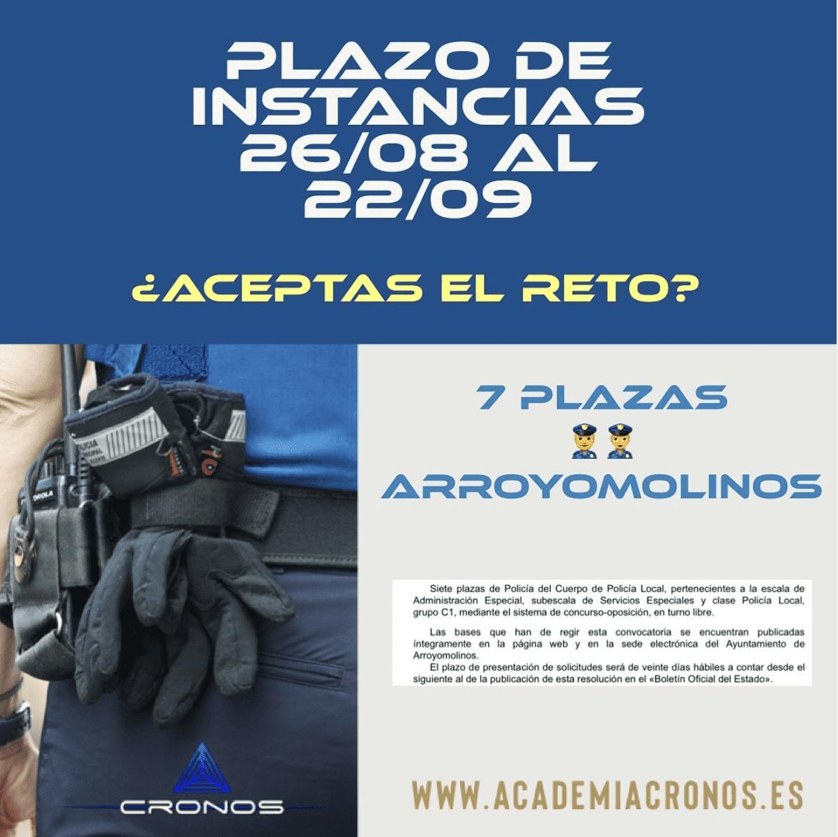7 PLAZAS policía local Arroyomolinos_ Instancias hasta el 22 de septiembre
