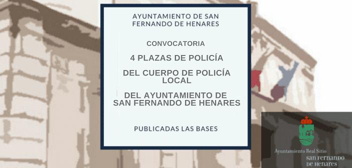 Oposiciones Policía Local San Fernando de Henares, 4 PLAZAS FIJAS FECHA 28/09/2021